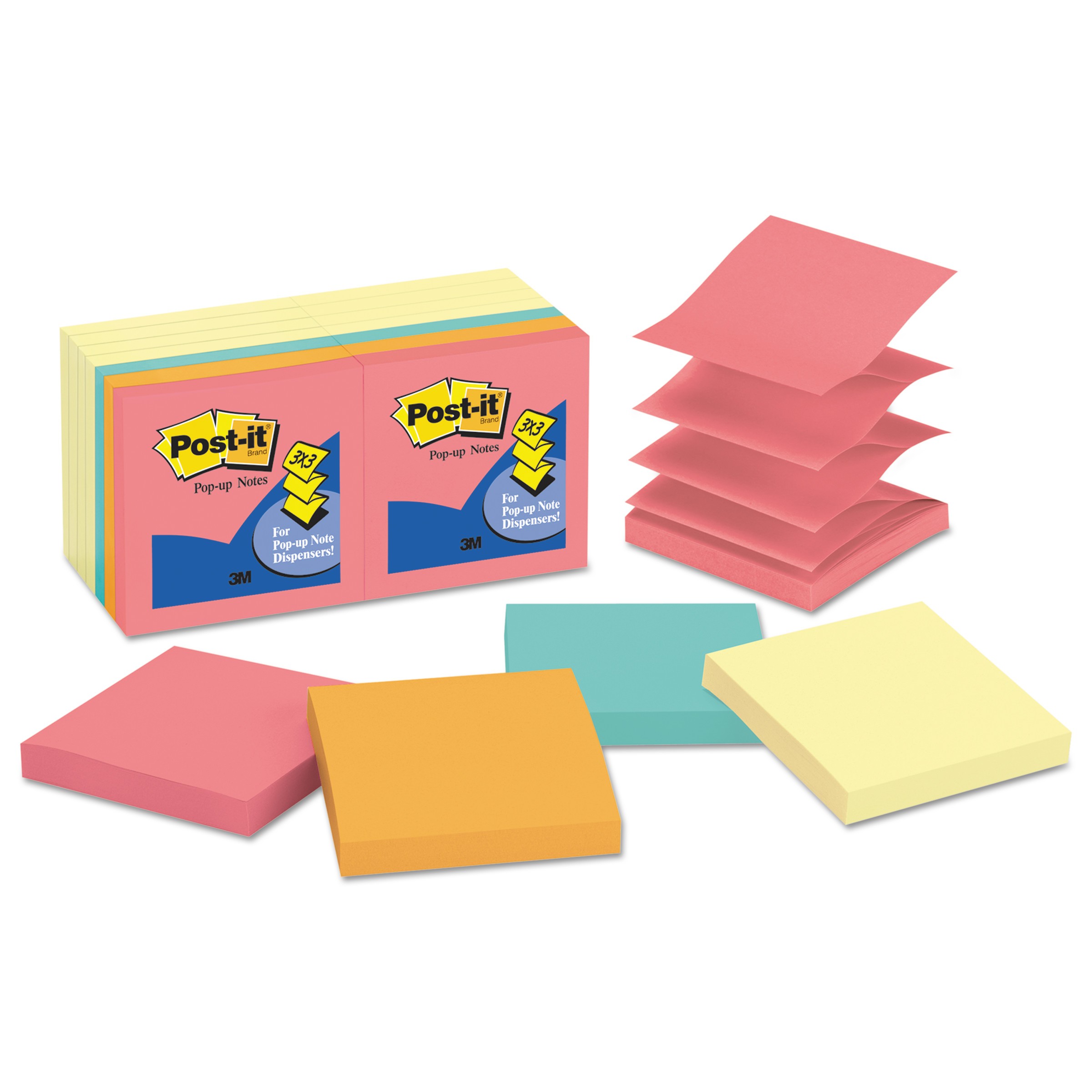 Post-it Pop-up Notes Original Pop-up Notes Value Pack, 3 x 3, Canary Yellow/Cape Town, 100-Sheet -MMMR33014YWM