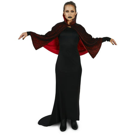 Seductive Vampire Dress with Capelet Women's Adult Halloween Costume - Vampire Dress Halloween Costumes