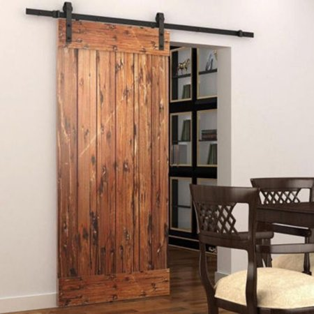 5ft Sliding Barn Door Wood Hanging Rail Type Black Track