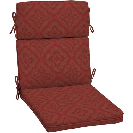 Better homes and gardens outdoor patio dining chair cushion with welt red medallion for Better homes and gardens patio furniture cushions