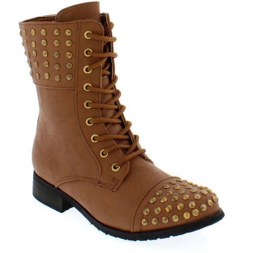 Shoes of Soul Women's Laces Studded Boots