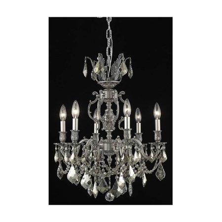 Traditional 6-Light Chandelier in Pewter Finish (Royal Cut Golden Teak Crystals)
