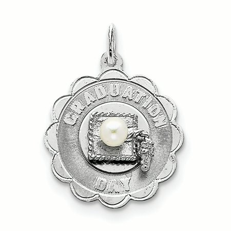 Sterling Silver Graduation Day Disc with FW Cultured Pearl Charm Pendant
