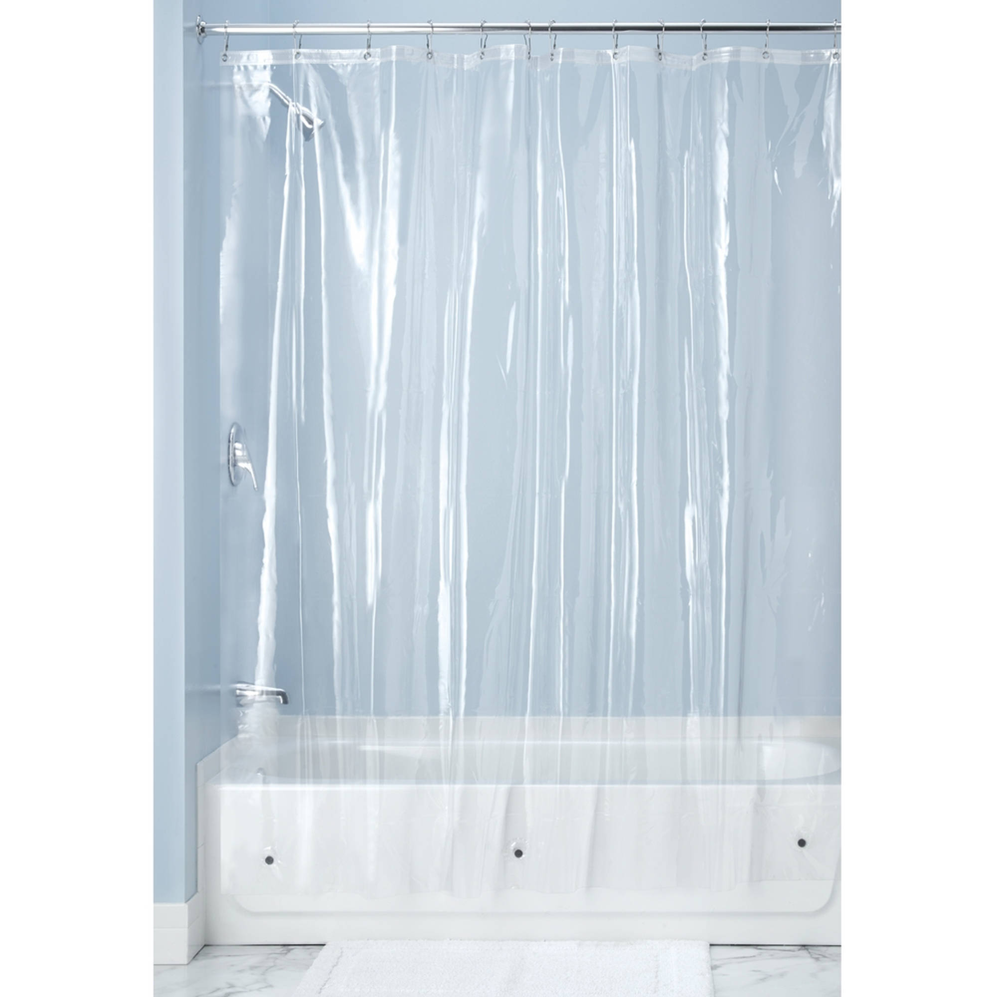 "InterDesign Antibacterial, Mold- and Mildew-Free 10 Gauge Vinyl Shower Curtain Liner, 72"" x 72"", Clear"