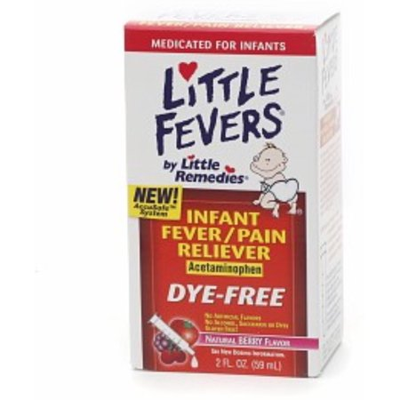 Little Remedies Infant Fever/Pain Reliever Liquid Dye-Free Natural Berry Flavor 2 oz (Pack of