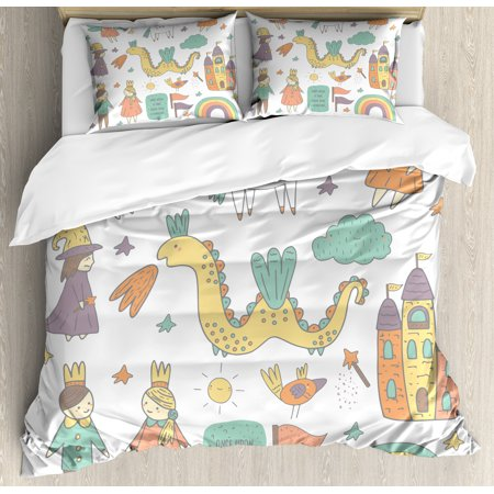 Fairies Duvet Cover Set (Fantasy Queen Size Duvet Cover Set, Doodle Style Dragon Fairies Royalty and Wizard Middle Ages Heroic Legend Elements, Decorative 3 Piece Bedding Set with 2 Pillow Shams, Multicolor, by Ambesonne )