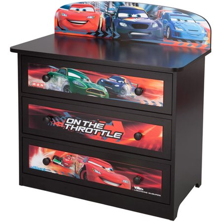 Disney pixar cars 3 drawer dresser for Disney pixar cars bedroom ideas