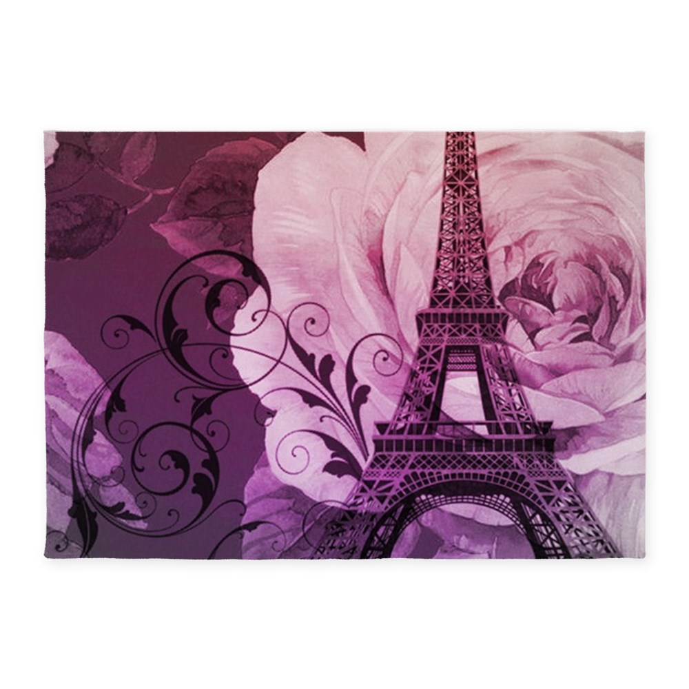 CafePress - Purple Floral Paris Eiffel Tower Art - 5'x7'Area Rug