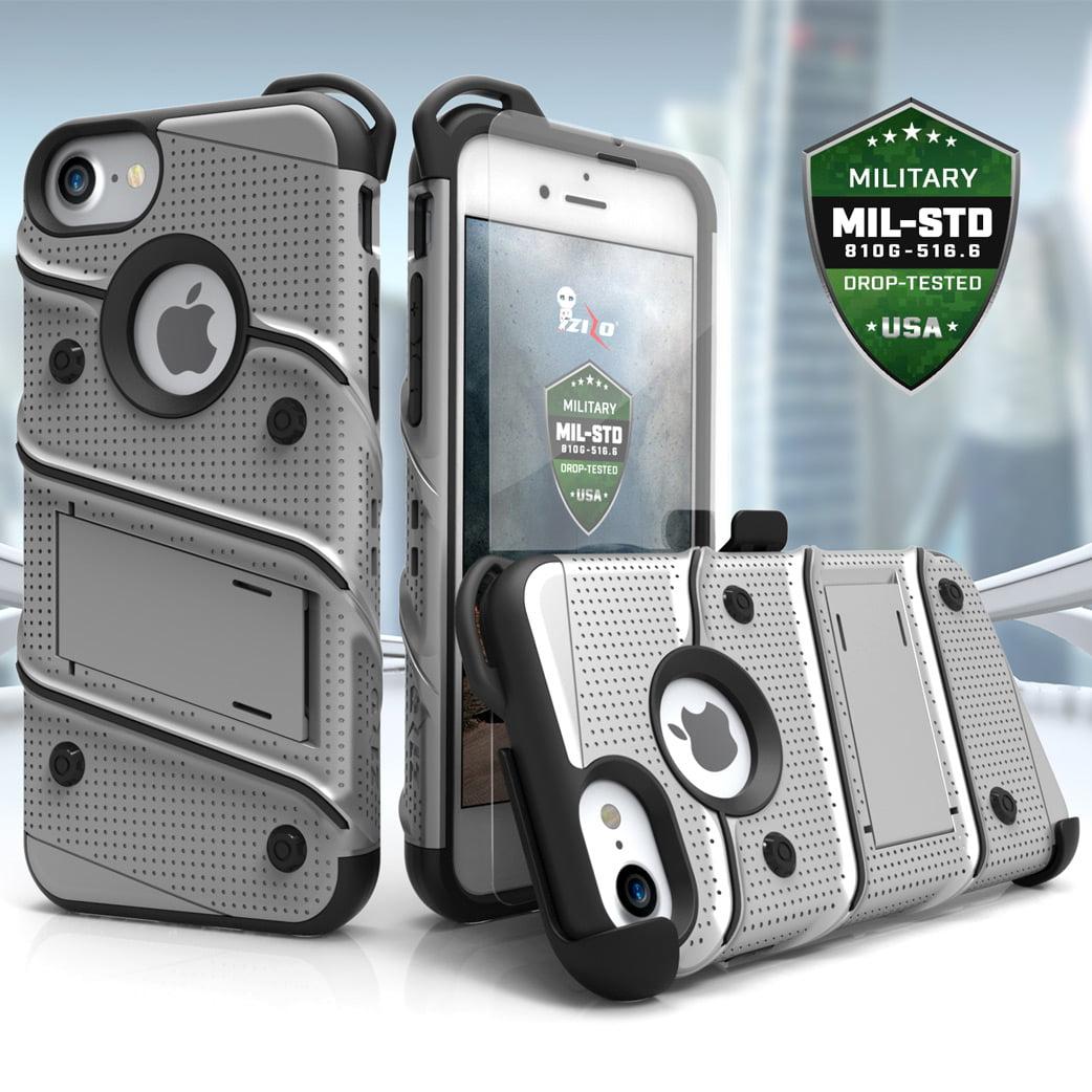 3055d9cf3c iPhone X / 8 / 8 Plus / 7 / 7 Plus / SE Case Zizo Bolt Tempered Glass  Screen Holster and Kickstand - Walmart.com