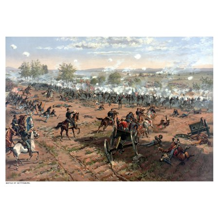 Vintage Civil War print of the Battle of Gettysburg The famous battle took place in early July 1863 and resulted in the largest number of casualties during The American Civil War Poster (Famous African Americans During The Civil War)