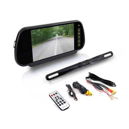 PYLE PLCM7400BT - Backup Car Camera - Rear View Mirror Monitor System w/Safety Parking Assist Distance Scale Lines - Features Bluetooth, Waterproof Protection, Night Vision, 7