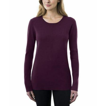 Crewneck Sweaters - Kirkland Signature Womens Crewneck Sweater (Plum, Medium)