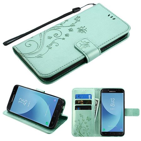 Phone Case for Samsung Galaxy J7 (2018), J737, J7 V 2nd Gen, J7 Refine - Pattern Flip Wallet Case Cover Stand Pouch Book Magnetic Buckle with Hand Strap 3D Butterfly Flower - Teal