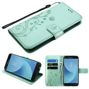Phone Case for Samsung Galaxy J7 (2018), J737, J7 V 2nd Gen, J7 Refine - Pattern Flip Wallet Case Cover Stand Pouch Book Magnetic Buckle with Hand Strap 3D Butterfly Flower - Teal Green
