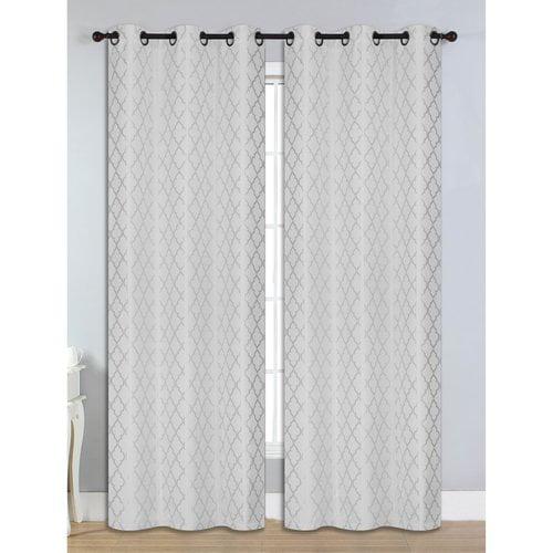 """Quattro Jacquard Room Darkening 76"""" x 84"""" Grommet Curtain Panel Pair"""