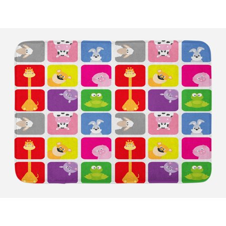 Nursery Bath Mat, Cartoon Animals in Colorful Frames Cute Pig Cow Giraffe Hippo Frog Rabbit Sheep, Non-Slip Plush Mat Bathroom Kitchen Laundry Room Decor, 29.5 X 17.5 Inches, Multicolor, -