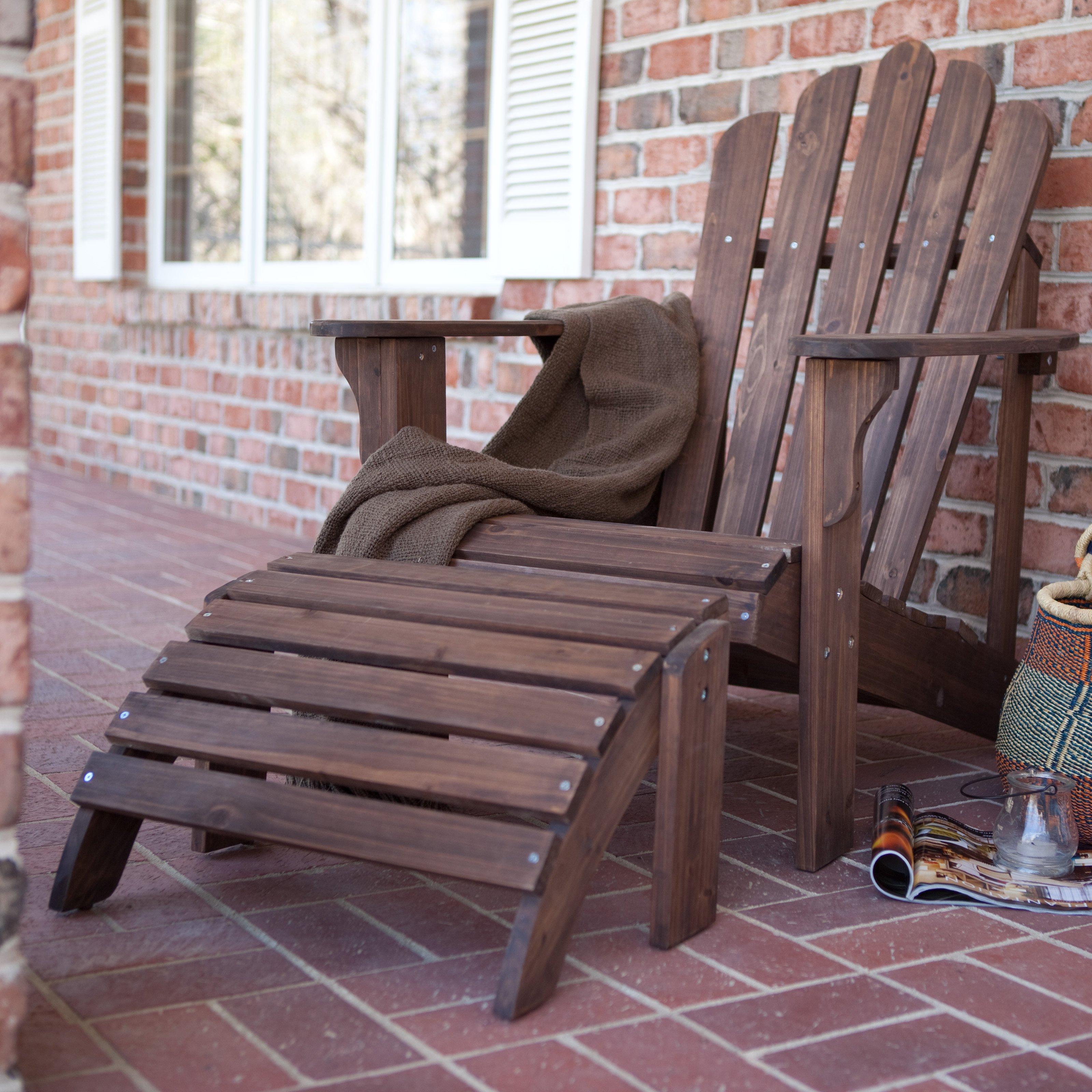 Coral Coast Adirondack Chair & Ottoman Dark Brown 2-Piece Set by