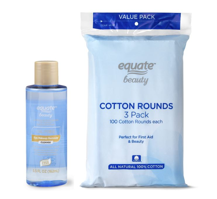 Equate Oil Free Eye Makeup Remover Cotton Rounds 300 Ct Bundle