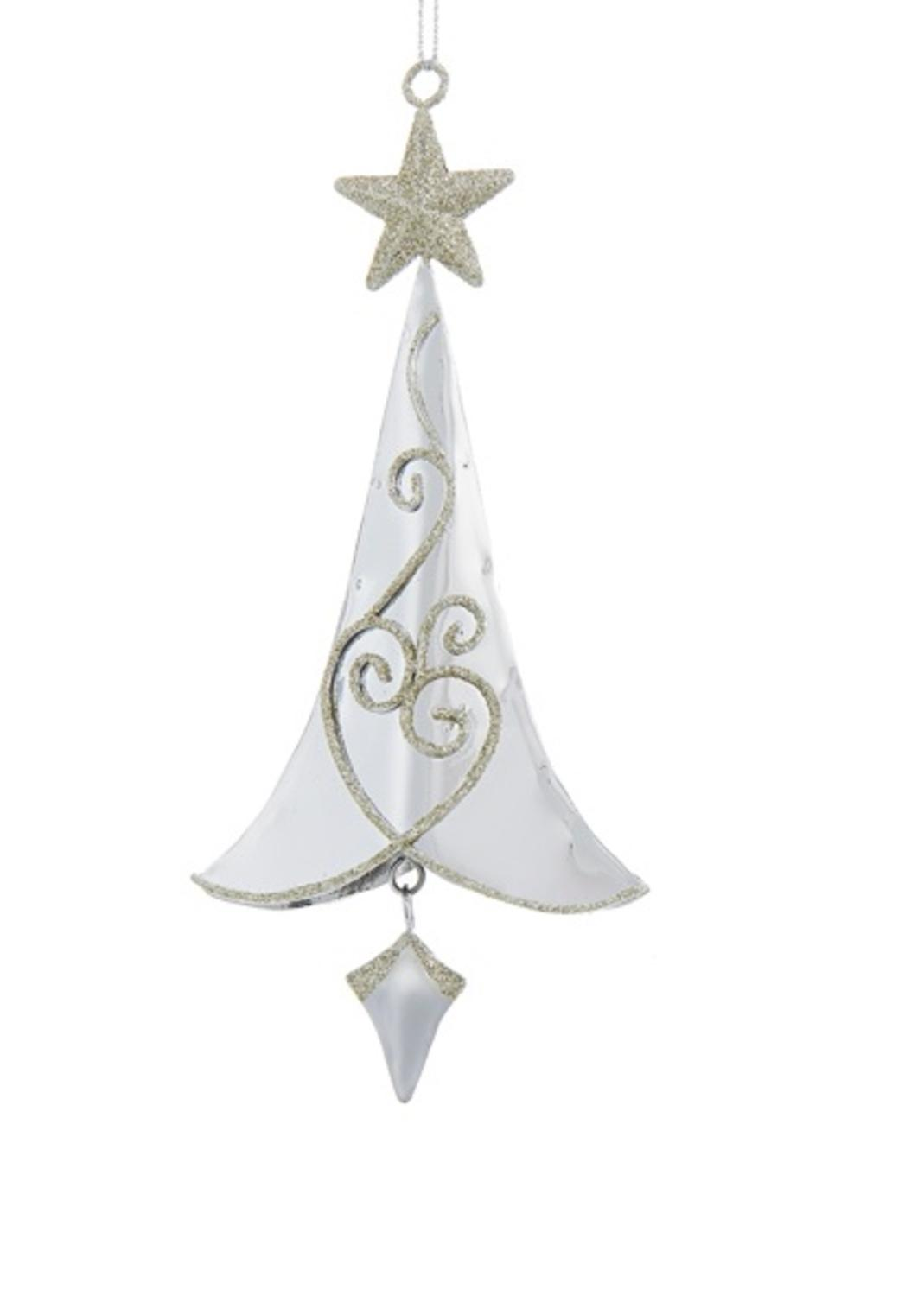 6 5 Silver Metal Tree With Gold Swirls And Star Hanging Christmas Ornament
