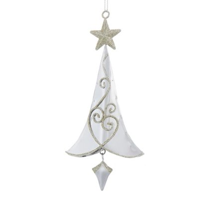 65 Silver Metal Tree With Gold Swirls And Gold Star Hanging