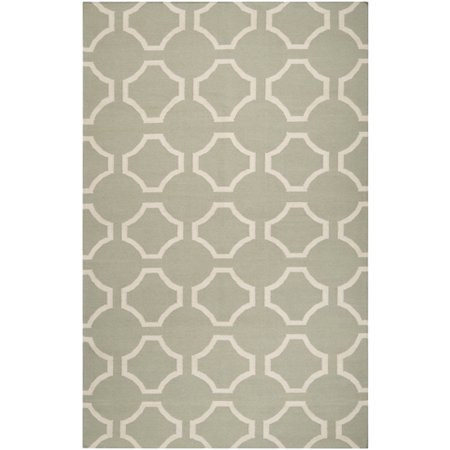 3.5' x 5.5' Mellow Web Bay Leaf Green and White Hand Woven Wool Area Throw Rug ()