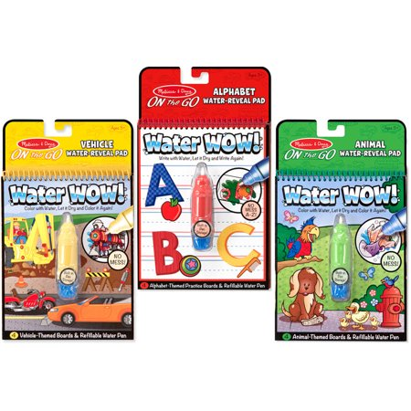 Melissa   Doug On The Go Water Wow  Water Reveal Pads Set  Vehicles  Animals  Alphabet