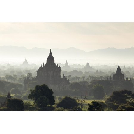 North and South Guni Temples Pagodas and Stupas in Early Morning Mist at Sunrise Print Wall Art By Stephen Studd