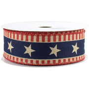 """Stars and Bars Patriotic Ribbon - 1 1/2"""" x 10 Yards, American Flag Wired Ribbon For 4th of July, Memorial Day, DIY Crafts, USA, Veterans Day Decorations, Rustic"""