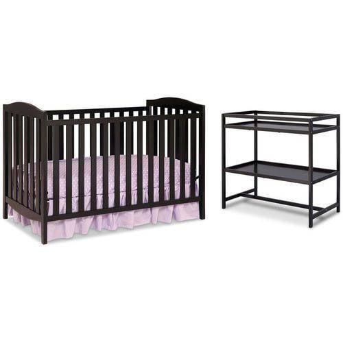 Delta Children Capri 3-in-1 Convertible Crib with BONUS Changing Table, Black