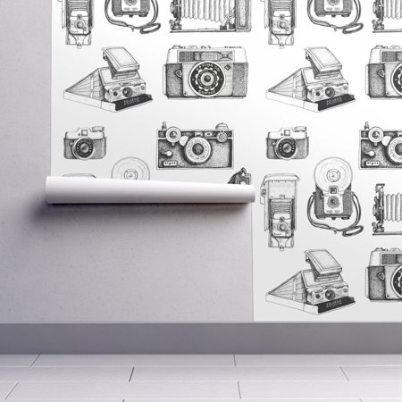 Peel-and-Stick Removable Wallpaper Cameras Cameras Black White Retro Cameras](Wallpaper Halloween Black And White)