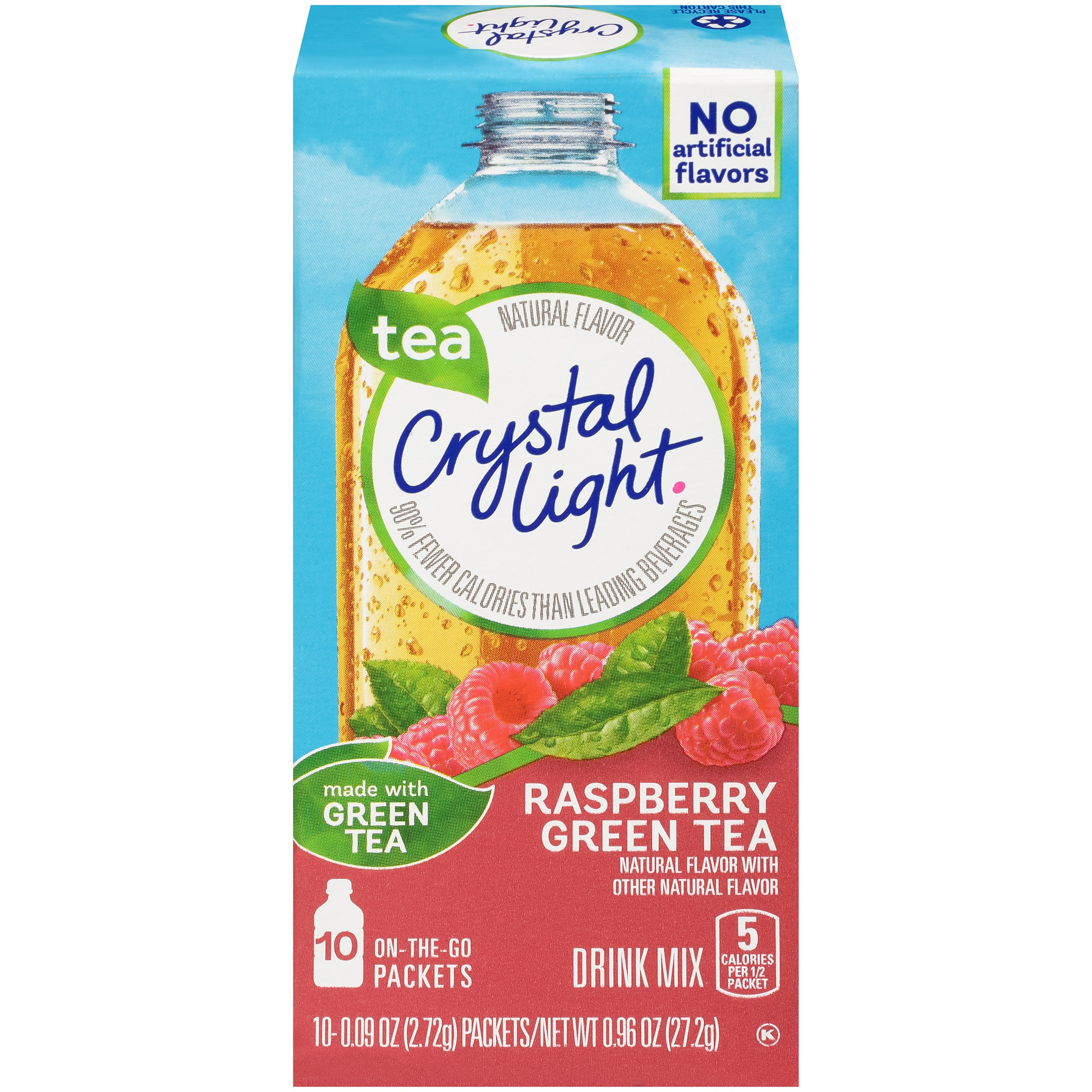 (6 pack) Crystal Light On the Go Sugar Free Powdered Raspberry Green Tea, 10 Packets