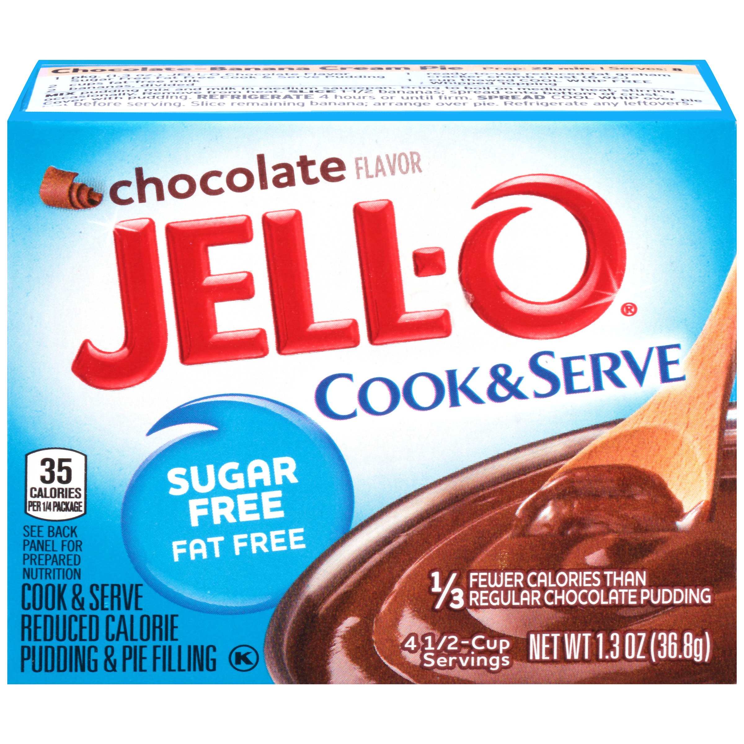 (4 Pack) Jell-O Instant Sugar-Free Fat-Free Chocolate Pudding & Pie Filling, 1.3 oz Box