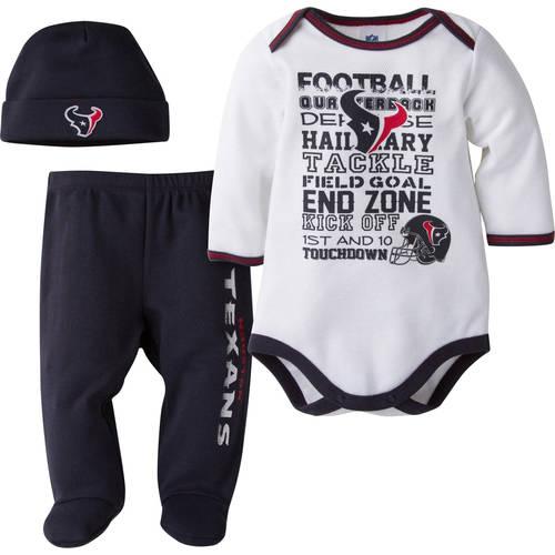 NFL Houston Texans Baby Boys Bodysuit, Pant and Cap Outfit Set, 3-Piece