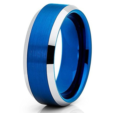 Tungsten Wedding Band Brushed Blue Tungsten Ring Polished Silver Edges 8mm Tungsten Carbide Ring Comfort Fit