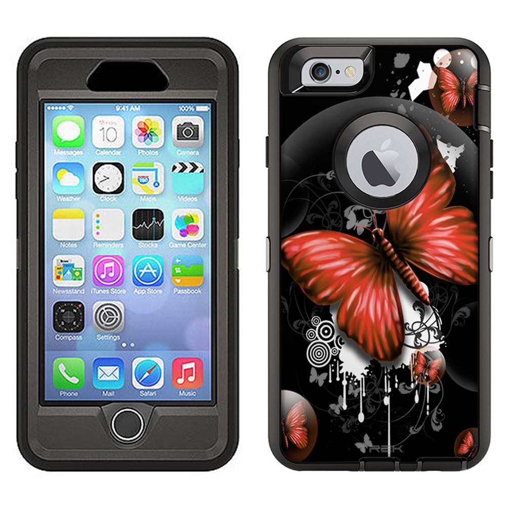SKIN DECAL FOR Otterbox Defender Apple iPhone 6 Plus Case - Highlighted Butterfly Red on Black DECAL, NOT A CASE