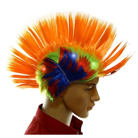 Dazzling Toys Wiggling Punk Blinking LED, Orange and Colored Wig. One per pack. (Blinking Toys)