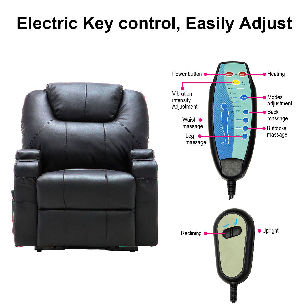 Costway Electric Lift Power Recliner Chair Heated Massage Sofa Lounge W/  Remote Control   Walmart.com