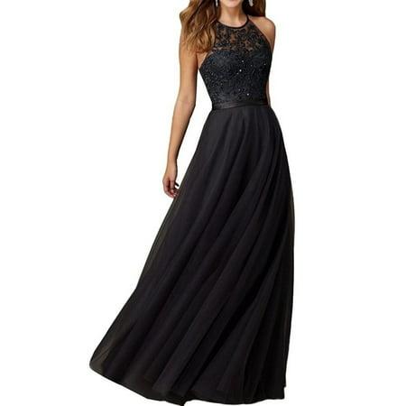 Slim Fit Elegant sleeveless Lace Panel Maxi Dress Black Lace Mardi Gras Mask