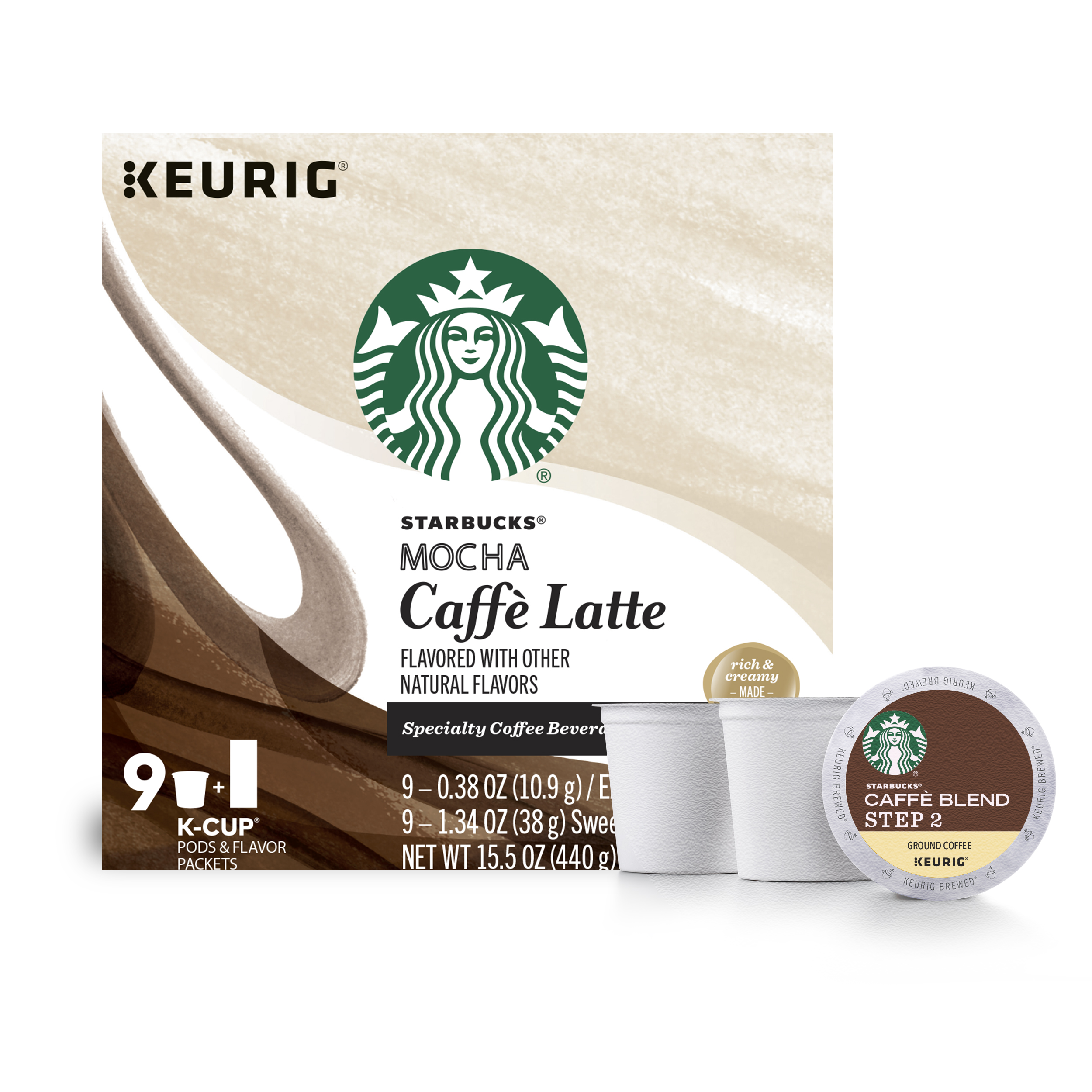 Starbucks Mocha Caffe Latte Medium Roast Single Cup Coffee for Keurig Brewers, 1 Box of 9 (9 Total K-Cup Pods)