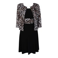 261916b2a6 Product Image Jessica Howard Petite Black Ivory Leaf-Print Jacket And  Sleeveless A-Line Dress