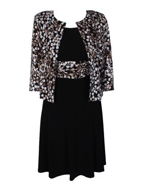 dfb4771608e Product Image Jessica Howard Petite Black Ivory Leaf-Print Jacket And  Sleeveless A-Line Dress