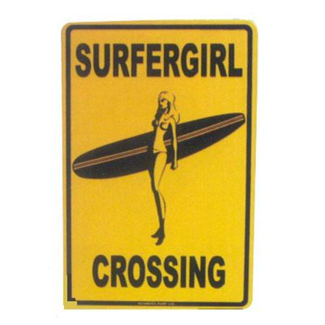 Seaweed Surf Co SF23 12X18 Aluminum Sign Surfergirl Crossing Yellow