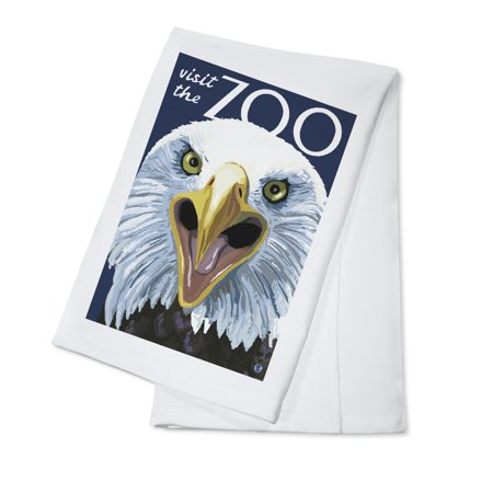 Eagle Up Close - Visit the Zoo - Lantern Press Original Poster (100% Cotton Kitchen Towel)
