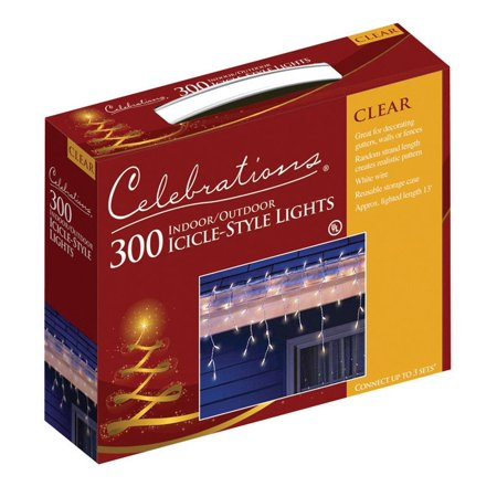 Lit Clear Lights - Celebrations Mini Icicle Lights 300 Lights Clear Bulbs 13' White Cord