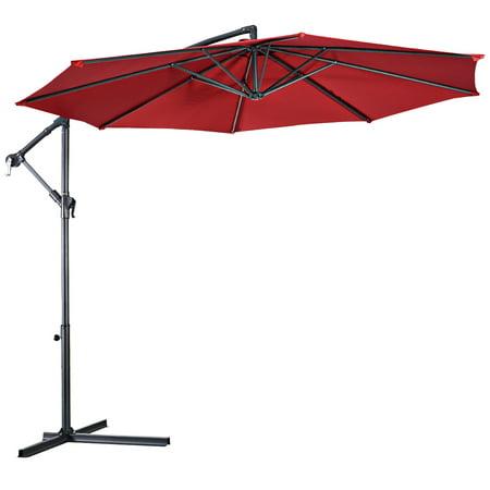 10' Hanging Umbrella Patio Sun Shade Offset Market W/ T Cross Base Burgundy - image 7 of 10