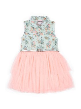 Little Lass Girls 4-6X Printed Floral Bodice Sleeveless Shimmer Tulle Tutu Dress With Belt