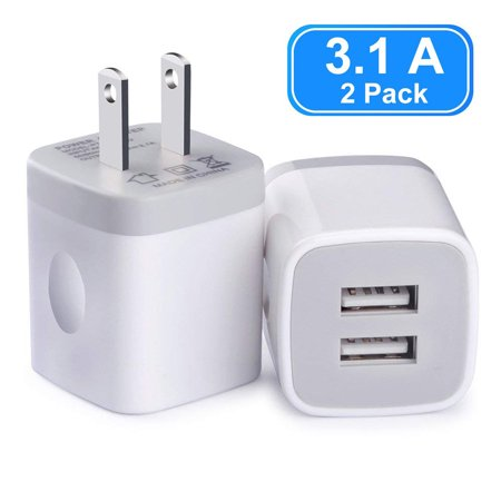 2-Pack USB Travel Wall Charger with 2 Port, Vogek 3.1A Dual Port USB Plug Power Adapter Wall Charger Universal Power Adapter for Cell Phone, MP3, Bluetooth Speaker Headset and More