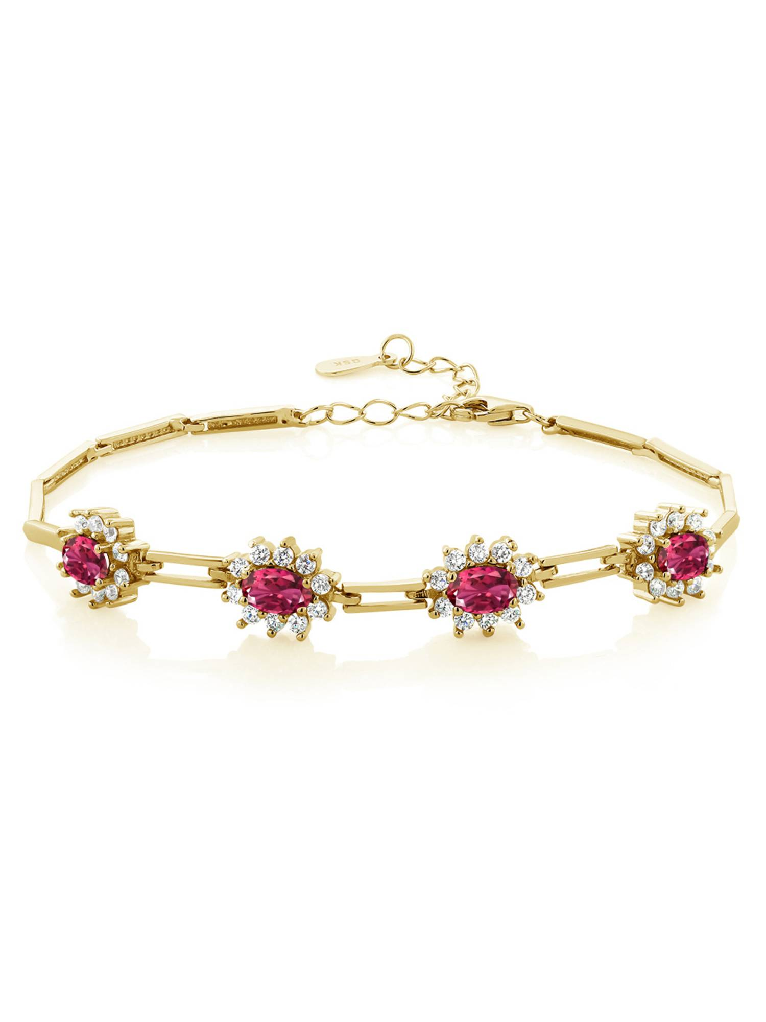 4.00 Ct Oval Pink Tourmaline 18K Yellow Gold Plated Silver Bracelet by
