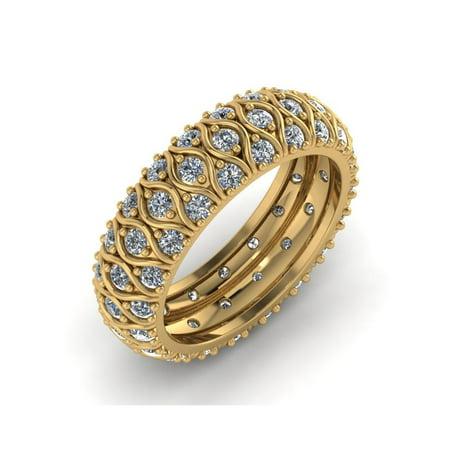 Bar Round Diamond Eternity Ring (2.00Ct Round Cut Natural Diamond 3Row Anniversary Eternity Band Ring Solid 14k Gold IJ I1)