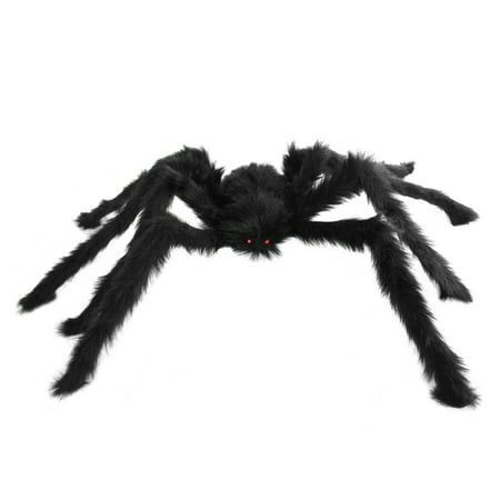 Easy Scary Halloween Decorations (SeasonsTrading Medium Black Hairy Spider - Scary Halloween Decoration Haunted House)